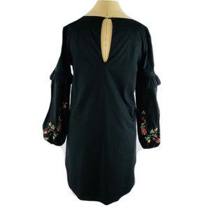 BRAVE Dresses - BRAVE Long Sleeve Blk Dress w Embroidered Flowers